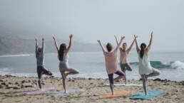 Grupa kobiet trenująca jogę na plaży